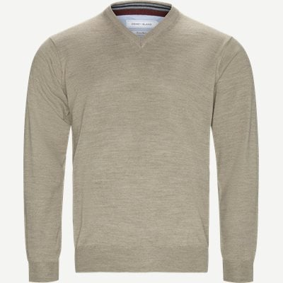 Smaralda V-Neck Striktrøje Regular | Smaralda V-Neck Striktrøje | Sand